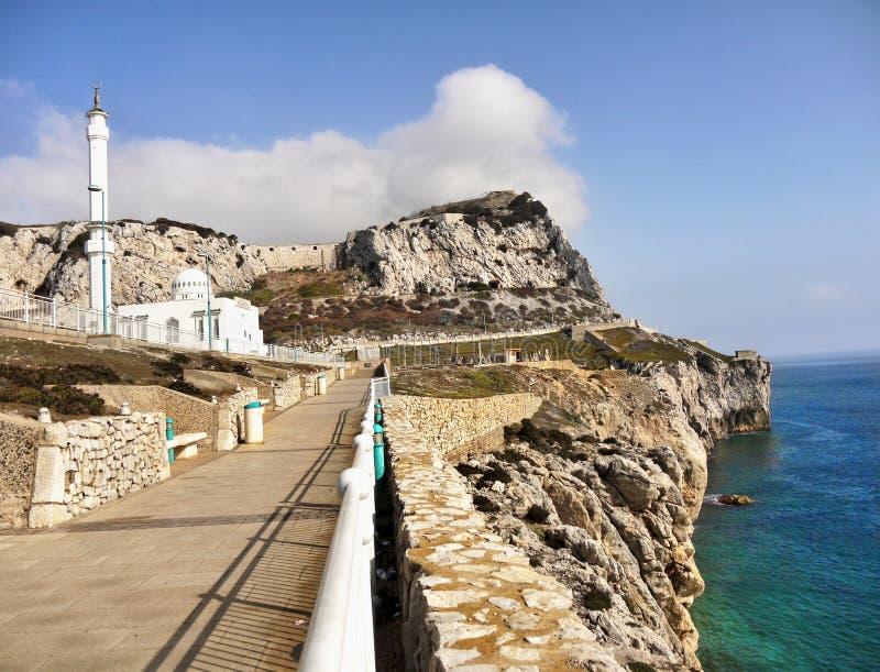 Le Gibraltar, point d'Europa, mosquée photographie stock