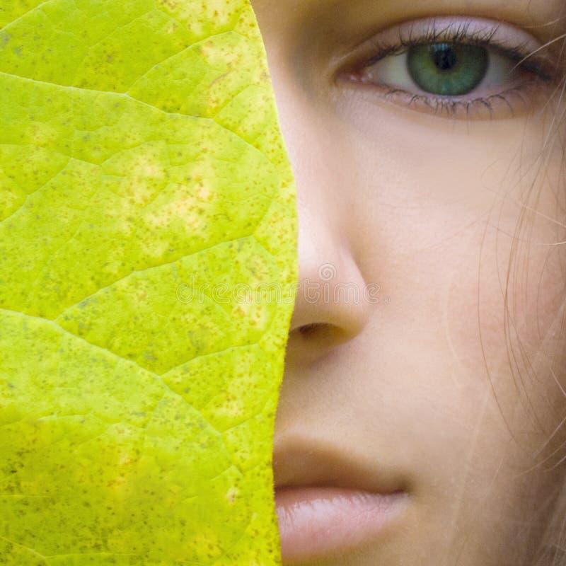 Le giovani donne bionde di bellezza con gli occhi verdi senza compongono Modello teenager della ragazza e grande foglia verde immagini stock libere da diritti