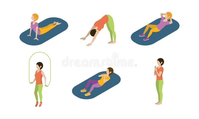 Le giovani donne che fanno l'insieme di esercizi di yoga, ragazze che praticano l'yoga vector l'illustrazione su un fondo bianco illustrazione di stock