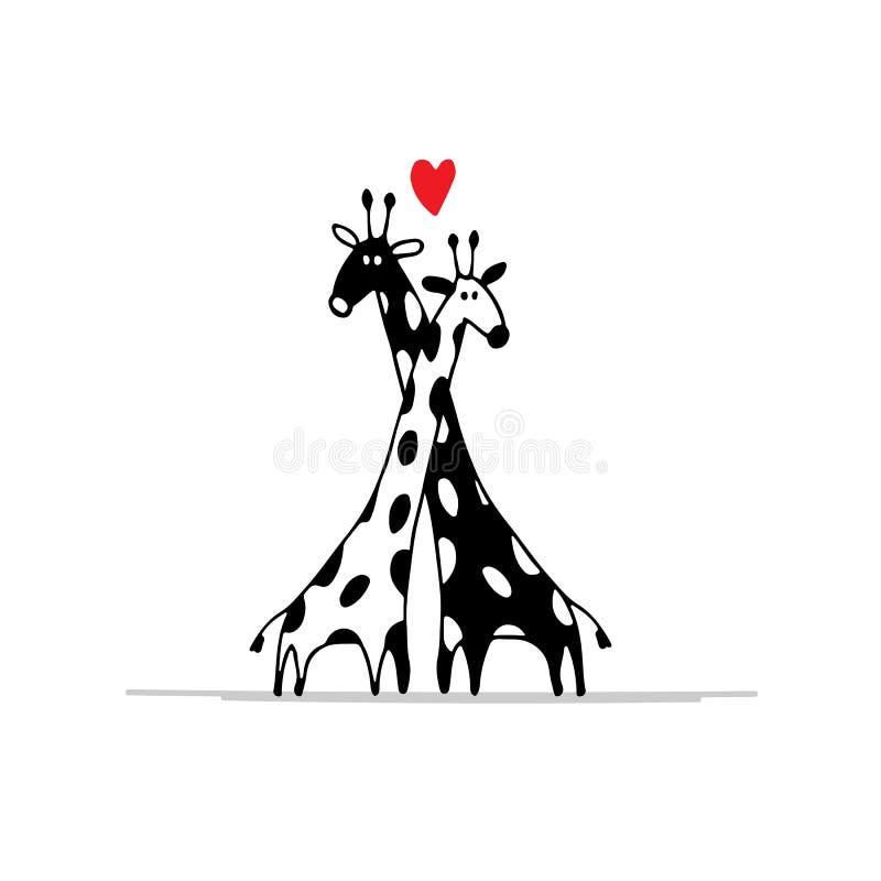 Le giraffe si accoppiano nell'amore, schizzo per la vostra progettazione royalty illustrazione gratis