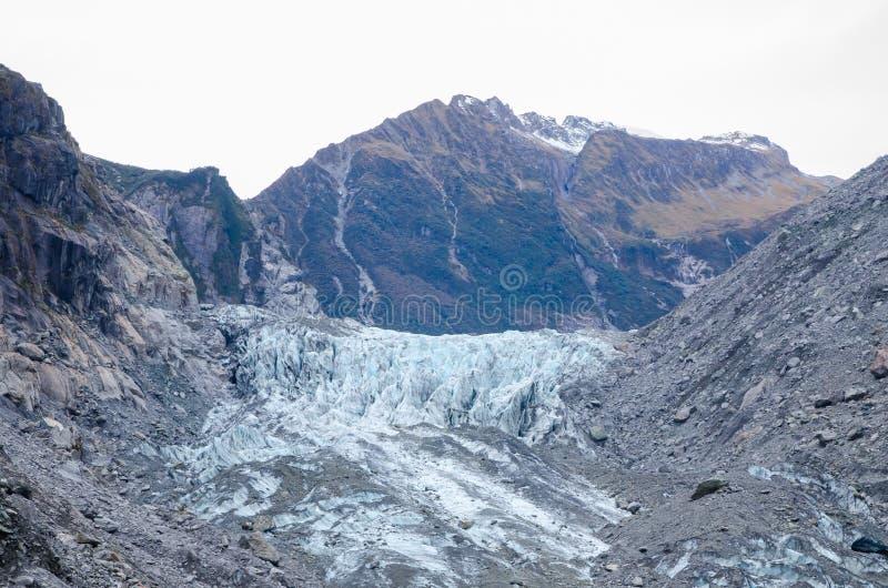 Le glacier de Fox/Te Moeka o Tuawe est des 13 8 longs d'un compteur 1 glacier maritime tempéré de MI situé dans Westland Tai Pout photos stock