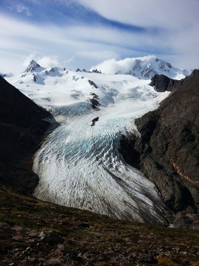 Le glacier du circuit de Huemul image stock
