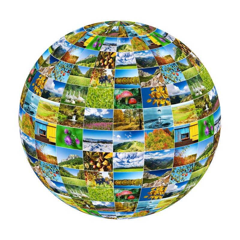 Le globe abstrait a formé par nature des photos - d'isolement sur le backg blanc images stock