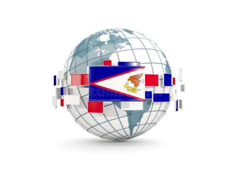 Le globe avec le drapeau des Samoa américaines a isolé sur le blanc illustration libre de droits