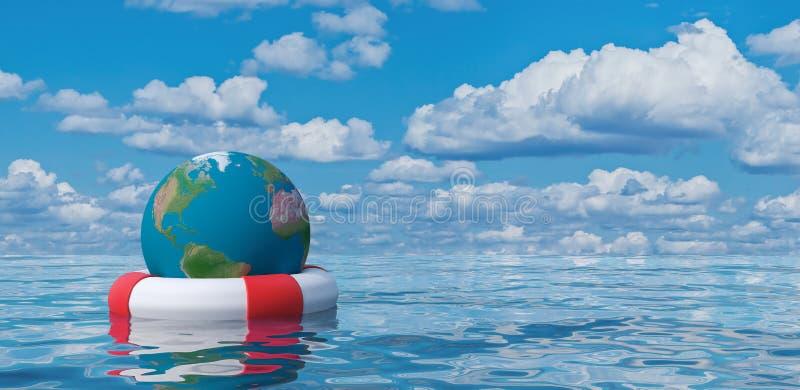 Le globe de la terre dans la bouée de sauvetage, sauvent l'illustration du concept 3d du monde illustration stock