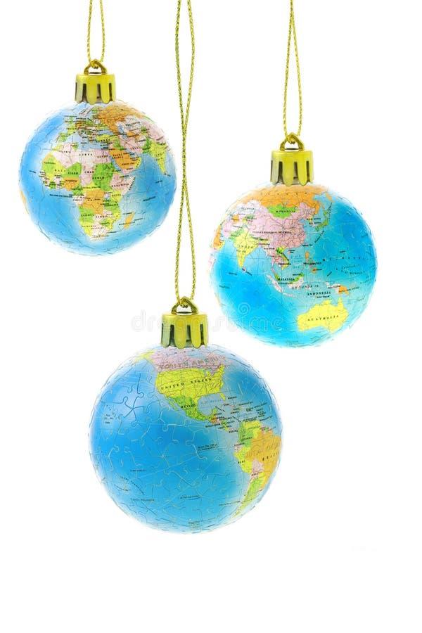le globe de Noël ornemente trois photo stock