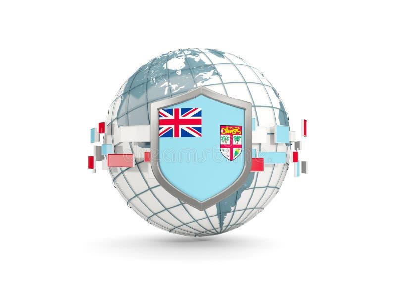 Le globe et le bouclier avec le drapeau du Fiji ont isolé sur le blanc illustration libre de droits