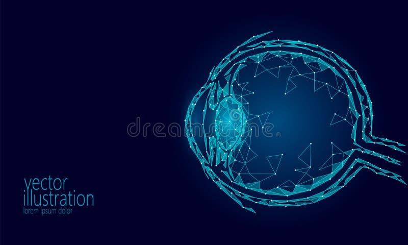 Le globe oculaire humain 3D rendent bas poly Affiche médicale de la future de médecine science bleue polygonale de technologie Op illustration libre de droits