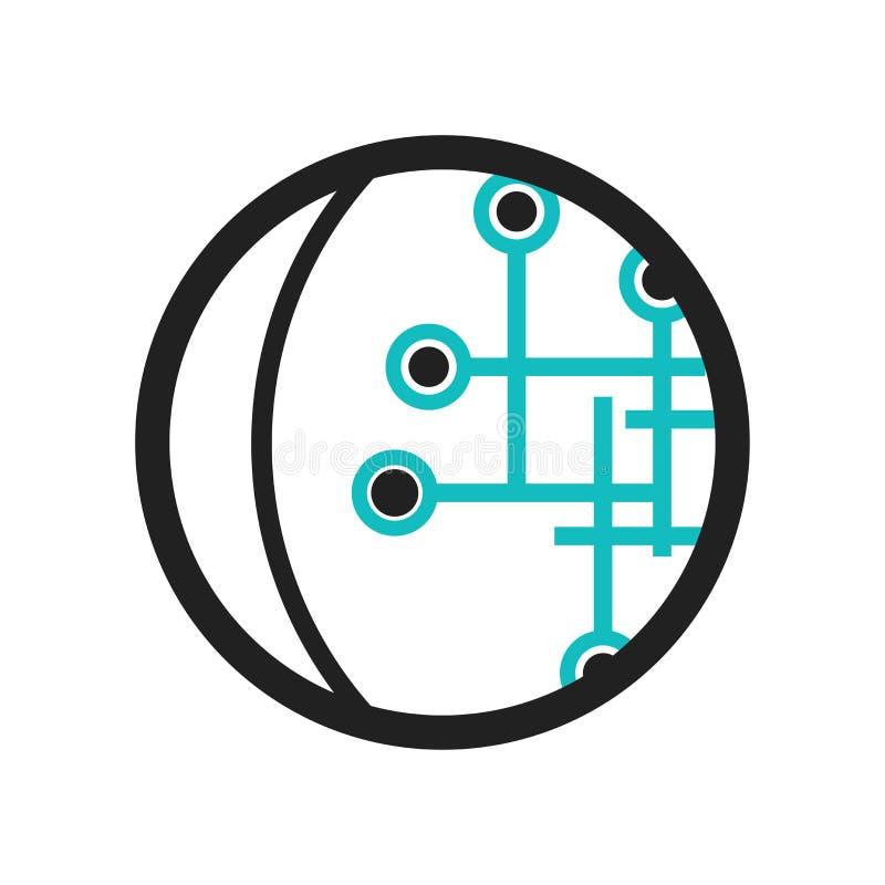 Le globe a relié le signe et le symbole de vecteur d'icône de circuit d'isolement sur le fond blanc, concept de logo de circuit r illustration libre de droits