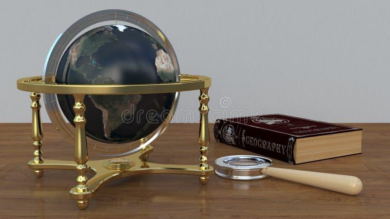 Le globe sur la table avec un livre et une loupe image libre de droits