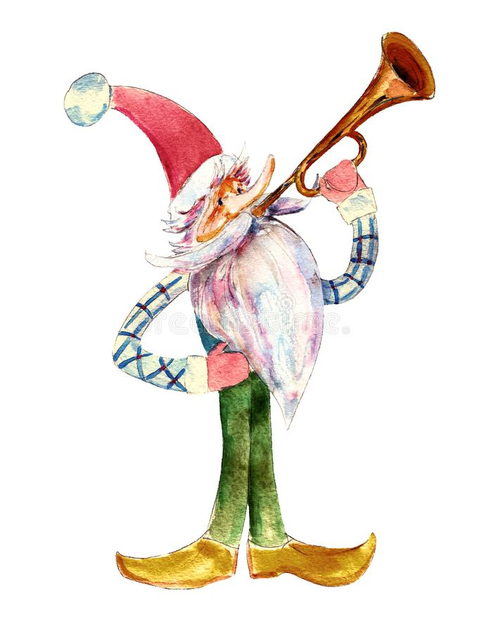 Le gnome de Noël sonne de la trompette, illustration d'aquarelle d'isolement sur le blanc illustration libre de droits