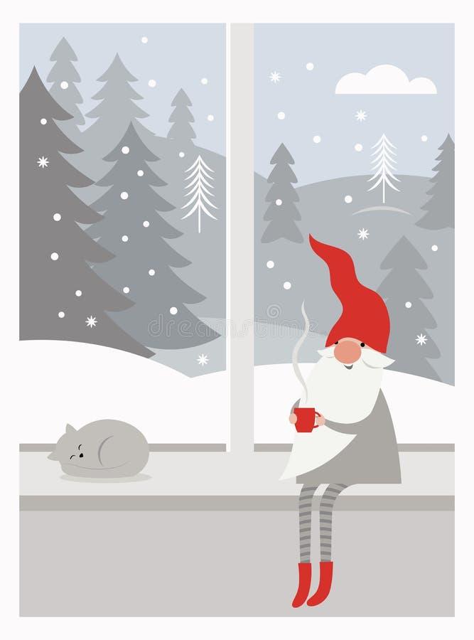 Le gnome mignon dans le chapeau rouge et dans les bas rayés se repose sur le filon-couche de fenêtre photographie stock