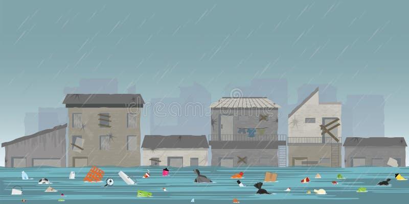 Le gocce di pioggia e la città pesanti si sommergono nella città dei bassifondi dal floati dell'immondizia illustrazione di stock