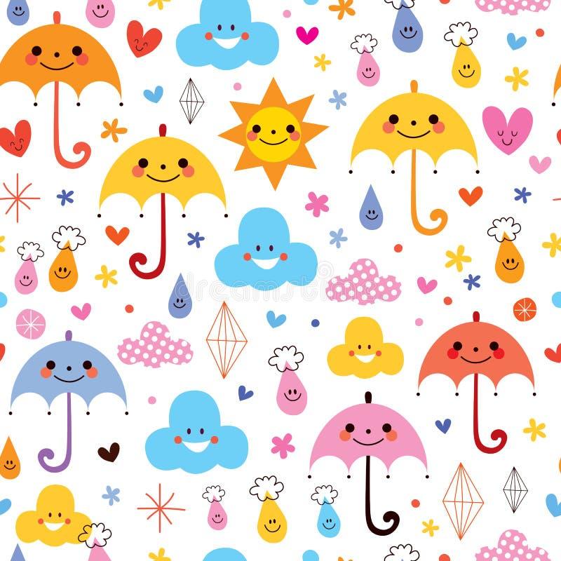 Le gocce di pioggia sveglie degli ombrelli fiorisce il modello senza cuciture del cielo delle nuvole illustrazione di stock
