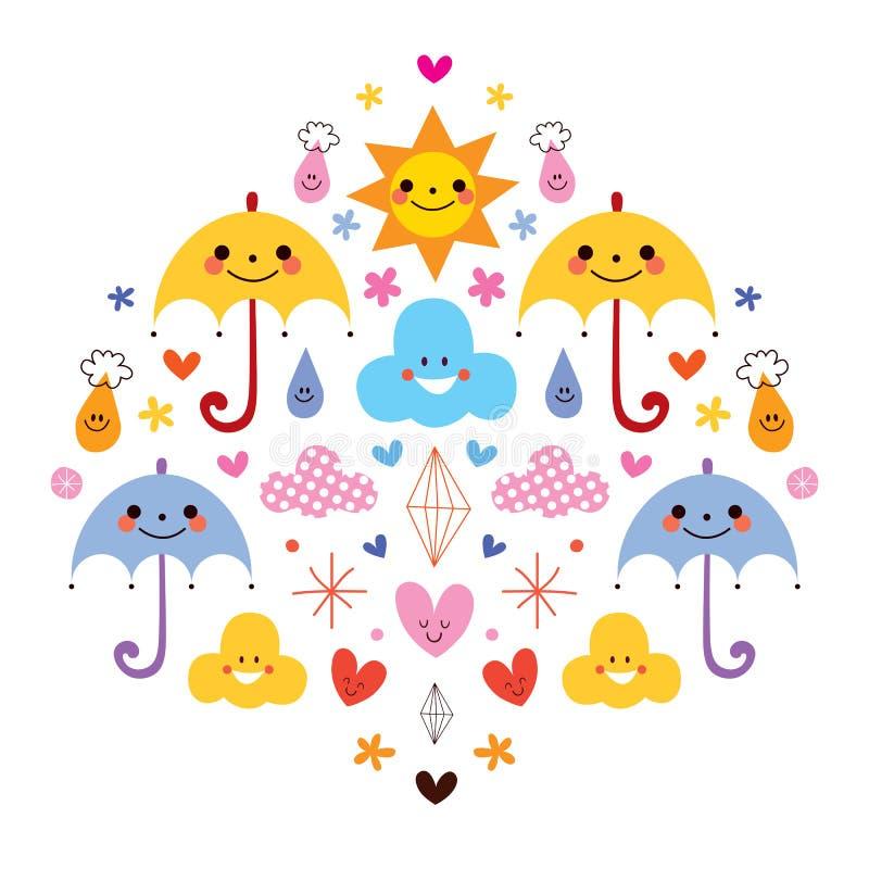 Le gocce di pioggia sveglie degli ombrelli fiorisce l'illustrazione di vettore dei caratteri delle nuvole illustrazione di stock