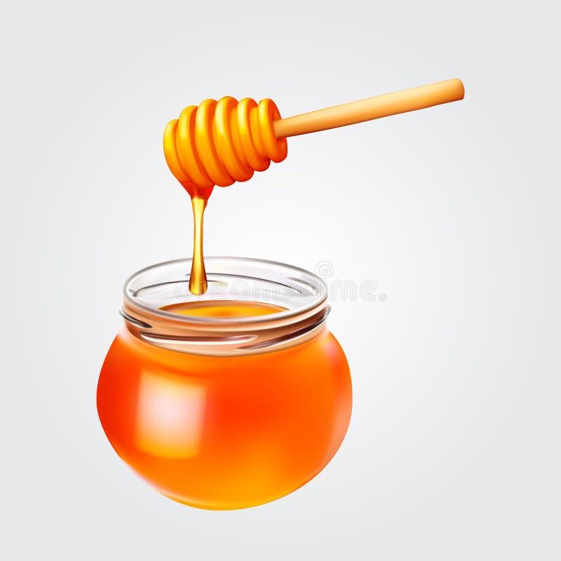Le goccioline del miele che entrano dal merlo acquaiolo di legno nel miele stonano royalty illustrazione gratis