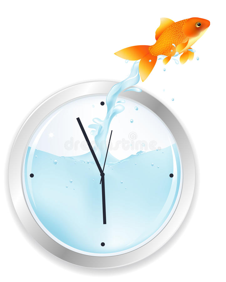Le Goldfish sautant de l'horloge. Vecteur   illustration stock