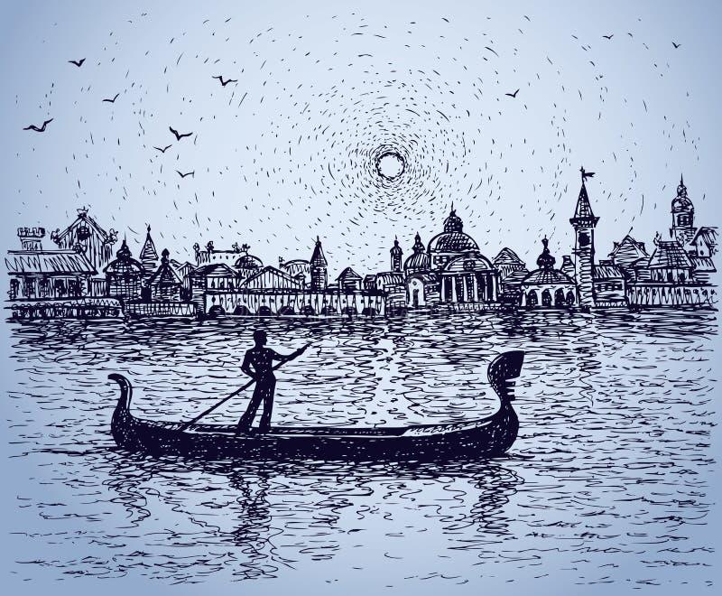Le gondoliere galleggiano sulla gondola Schizzo di vettore royalty illustrazione gratis