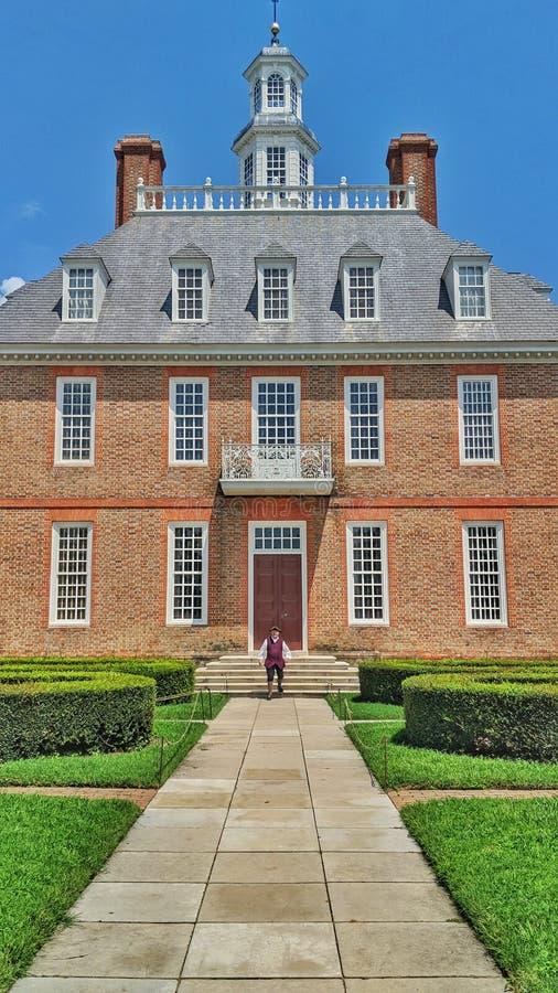 Le Gouverneur colonial historique Palace de Williamsburg images libres de droits