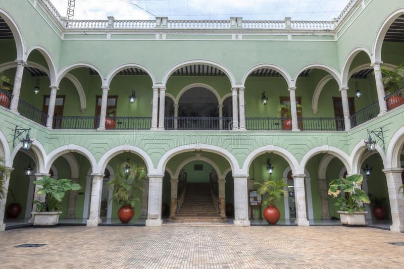 Le Gouverneur intérieur Palace à Mérida, Mexique photos stock