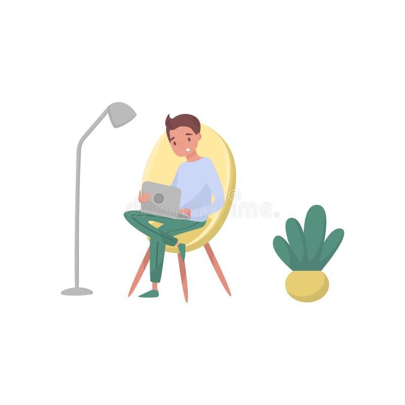 Le grabbsammanträde på fåtöljen och att använda bärbara datorn Yrke av den grafiska formgivaren barn för home working för freelan royaltyfri illustrationer