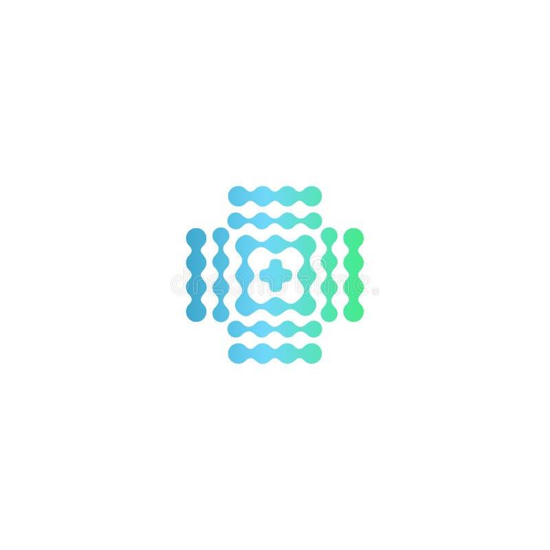 Le gradient d'icône, bleu et vert médical tramé entoure le style, logo de vecteur illustration de vecteur