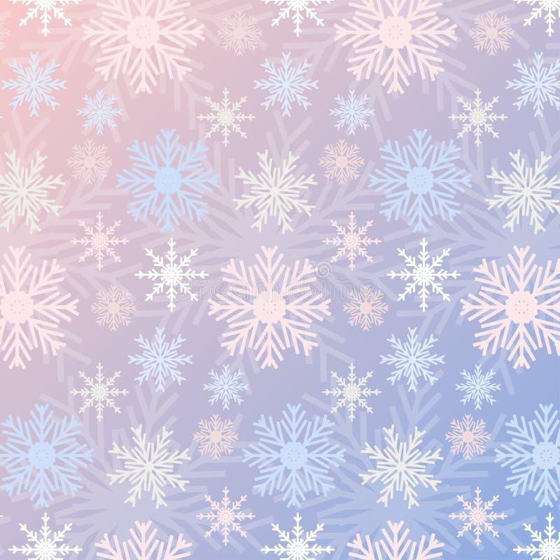 Le gradient sans couture Rose Quartz de modèle de flocon de neige et la sérénité ont coloré le fond de vintage illustration de vecteur