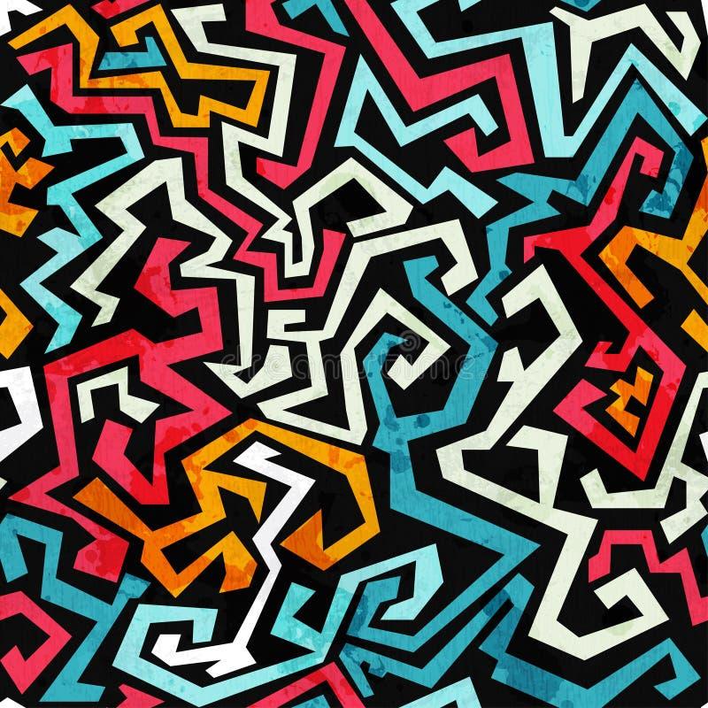 Le graffiti courbe le modèle sans couture avec l'effet grunge illustration de vecteur