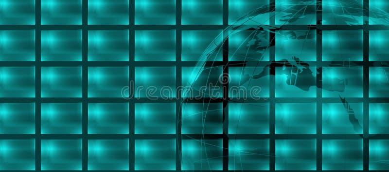 Le grand écran plat avec les moniteurs multiples et les 3d mettent à la terre le globe illustration de vecteur