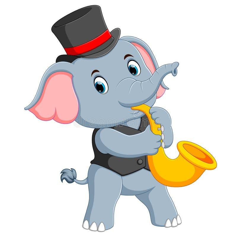 Le grand éléphant gris emploie le chapeau noir et jouer la trompette illustration de vecteur