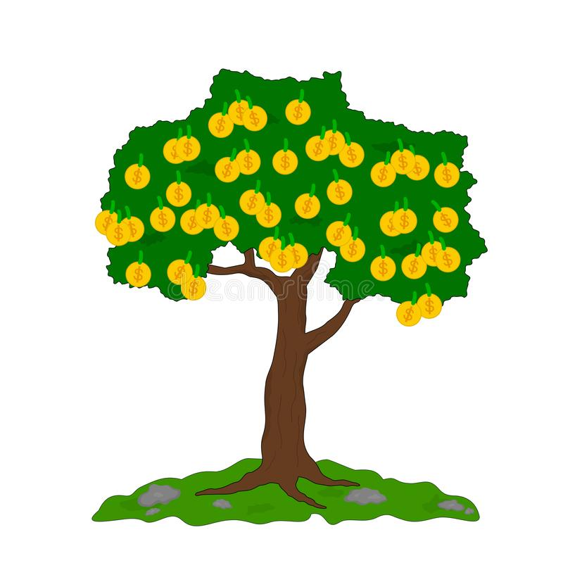 Le grand arbre d'affaires ont beaucoup argent illustration libre de droits