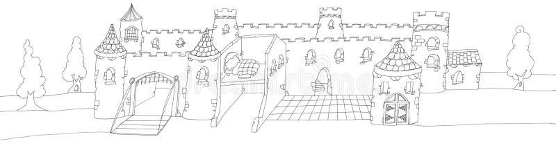 Le grand château enchanté avec un pont-levis, échine dessinée par couleur illustration stock
