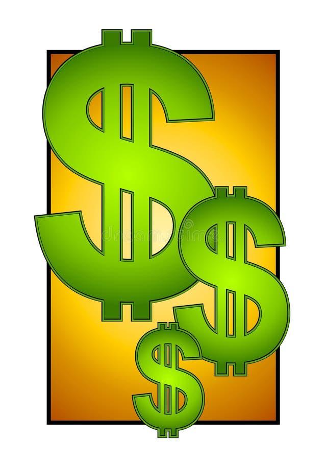 Le grand dollar se connecte l'argent comptant d'or illustration stock