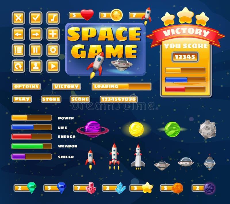 Le grand ensemble boutonne des éléments d'icônes pour les jeux et l'appli occasionnels de bande dessinée de jeu de l'espace 2D ic illustration stock