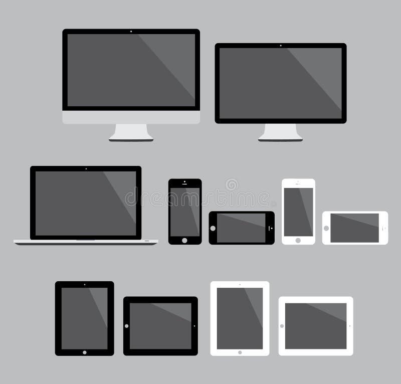 Le grand ensemble d'appareils électroniques modernes plats dirigent I illustration libre de droits