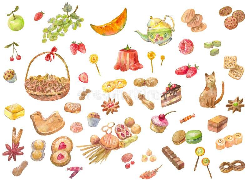Le grand ensemble d'aquarelle porte des fruits, des produits de boulangerie, bonbons, la sucrerie, Ca illustration de vecteur