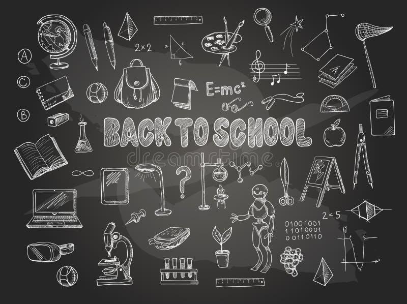 Le grand ensemble d'articles d'école, tels qu'un sac à dos, un livre, un ordinateur portable, un globe etc., a marqué à la craie  illustration stock