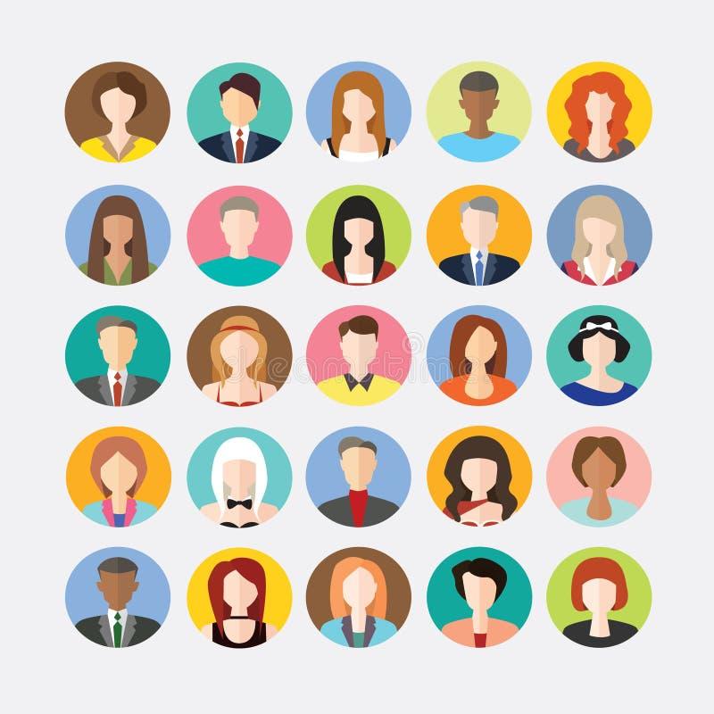 Le grand ensemble d'avatars profilent les icônes plates de photos illustration libre de droits