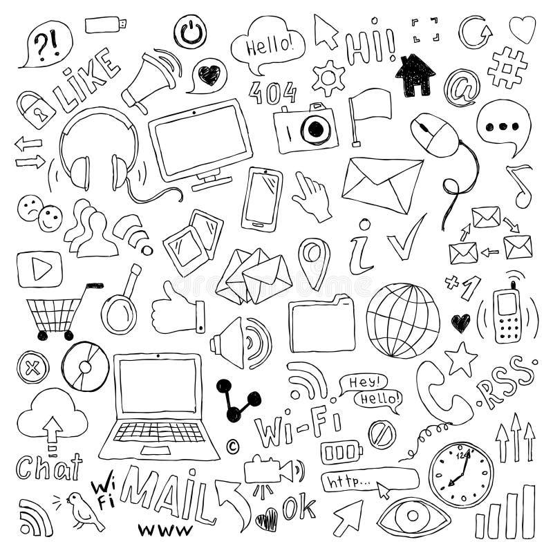 Le grand ensemble de bande dessinée tirée par la main de griffonnage objecte et des symboles sur le thème social de media illustration libre de droits