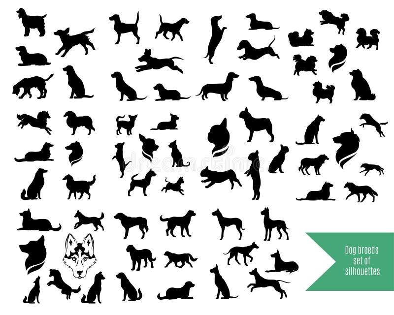 Le grand ensemble de chien multiplie des silhouettes illustration libre de droits