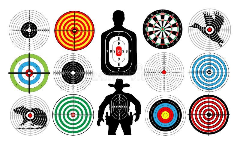 Le grand ensemble de cibles a isolé l'homme de cowboy de personnes d'animaux illustration libre de droits