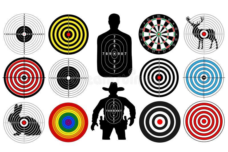 Le grand ensemble de cibles a isolé l'homme de cowboy de personnes d'animaux Cibles pour le tir Panneau de dards illustration de vecteur