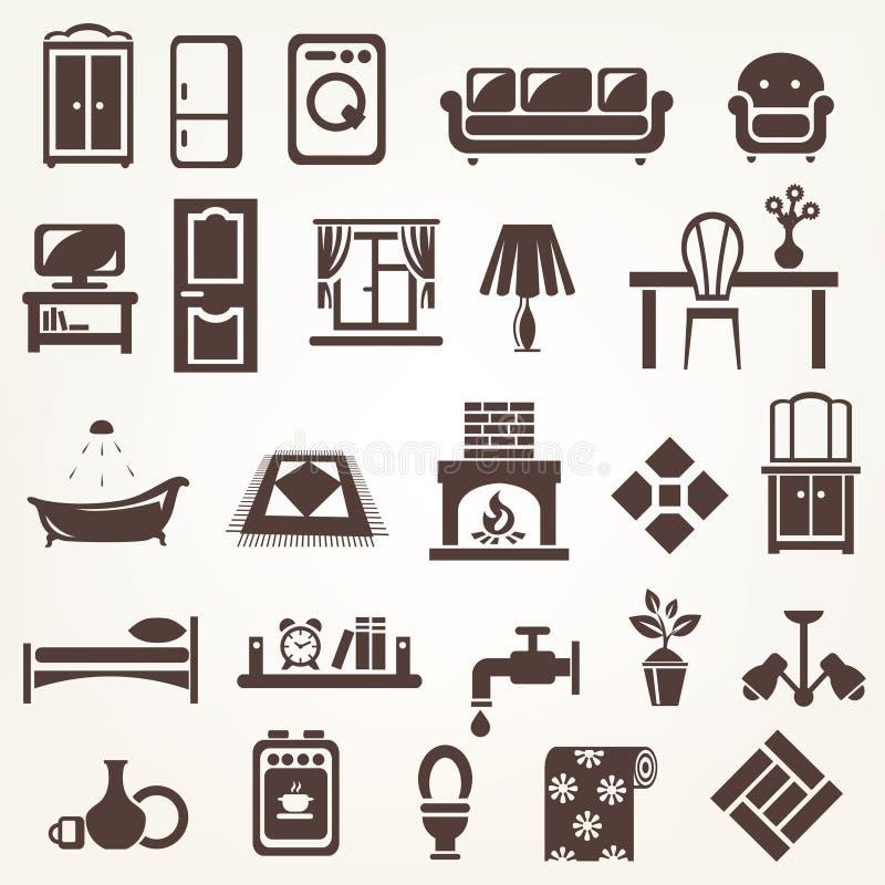 Le grand ensemble de meubles et de maison a rapporté des silhouettes et des icônes illustration libre de droits