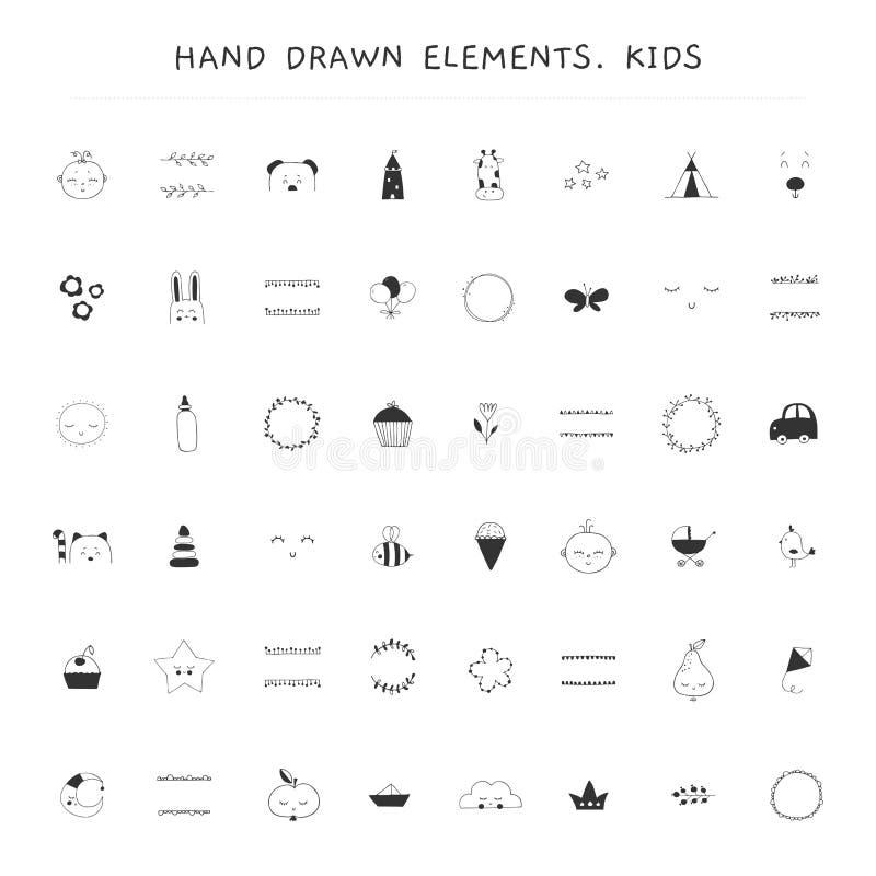 Le grand ensemble de vecteur d'éléments tirés par la main pour des enfants a rapporté des entreprises illustration stock