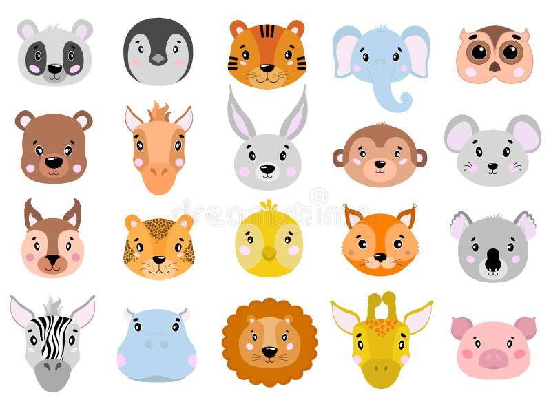 Le grand ensemble de vecteur d'animaux mignons font face à l'appartement d'icône illustration stock