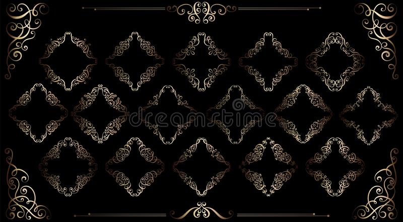 Le grand ensemble de vintage d'or a dénommé les cadres calligraphiques et la décoration de flourishes, complexe et exquise pour l illustration libre de droits