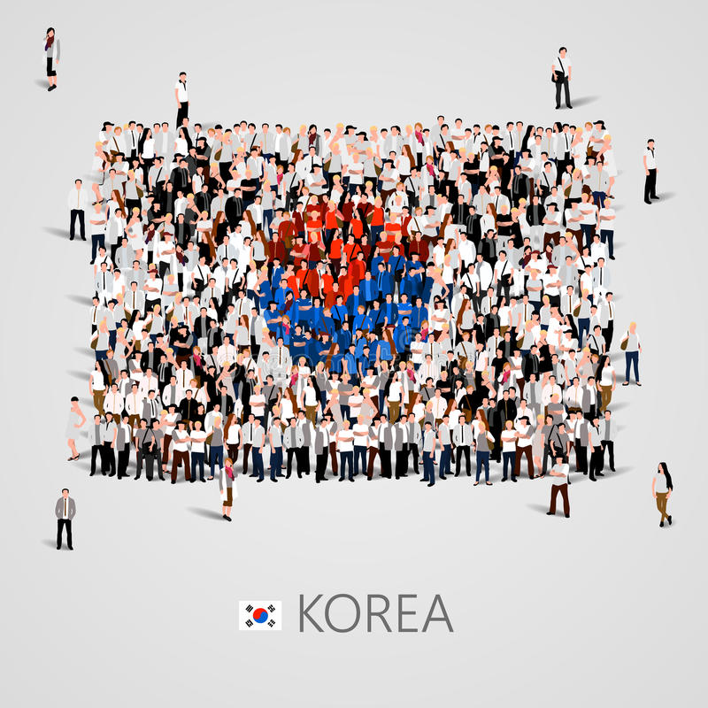Le grand groupe de personnes dans le drapeau de la Corée forment illustration stock
