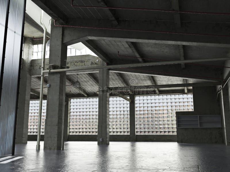 Le grand grunge intérieur a encadré l'entrepôt avec un plancher vide illustration libre de droits