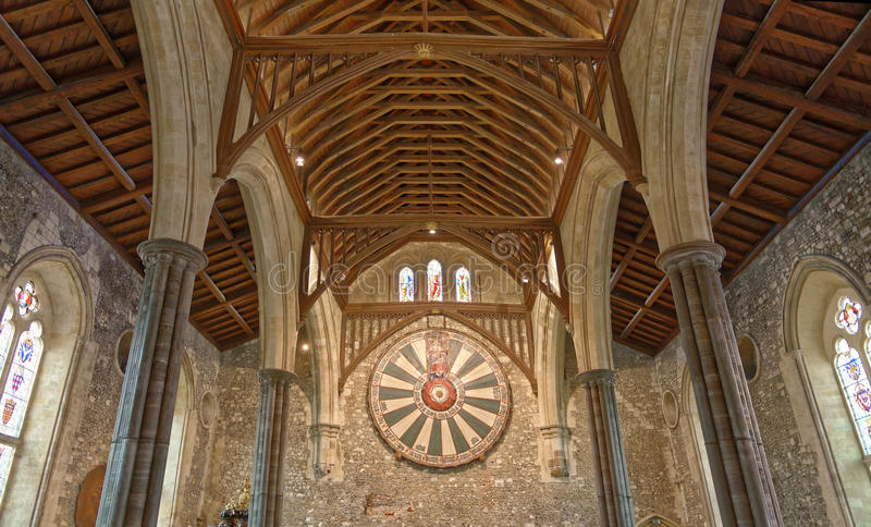 Le grand hall du château de Winchester au Hampshire, Angleterre images libres de droits