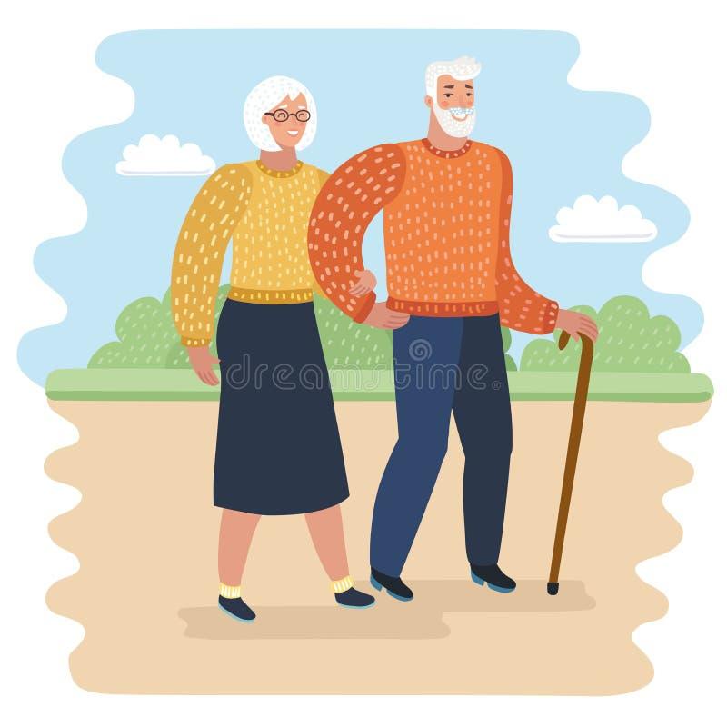 Le grand-papa avec le bâton de marche et la femme supérieure sur des marcheurs dans la ville garent l'illustration de vecteur Les illustration stock